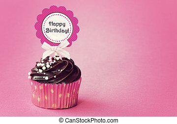 Birthday cupcake with space for copy