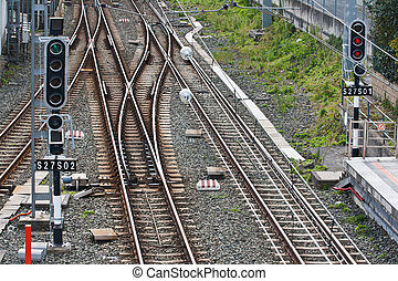 Train tracks with fork