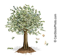 Money Tree with US Dollar bank notes in place of leaves -...