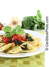Cappelletti with pine nuts and tomatoes - Rocket and Ricotta...