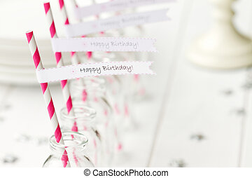 Birthday party refreshments - Refreshments set out for a...