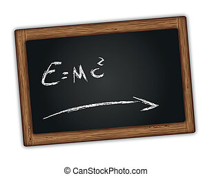 Chalkboard with Einstein equation - Chalkboard with...