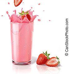 Strawberries splashing into a milkshake glass, with two straberries on the floor. On white background and reflection on surface.
