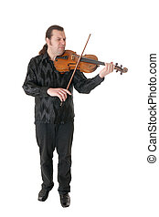 musician playing a viola, isolated on white