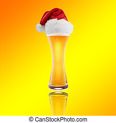 Santa Claus hat with beer on a yellow background
