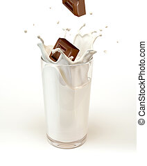 Chocolate cubes splashing into a milk glass. On white...