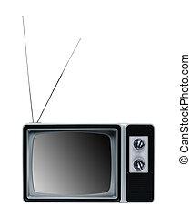tv, vindima, isolado