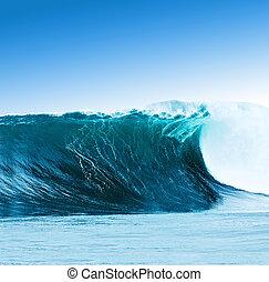 grande, surfando, onda, fraturas, oceânicos