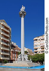 Statue on column, Fuengirola. - Statue on column in the...