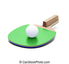 Table tennis racket and ball isolated