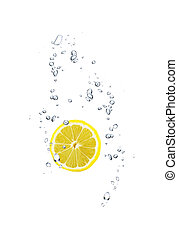 slice of lemon in water