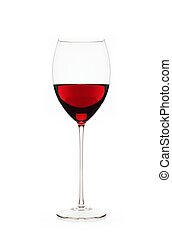 Red wine in glass isolated