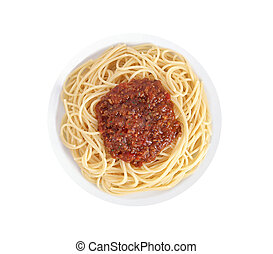 Spaghetti a la Bolognese in the white plate isolated on...