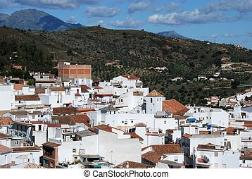 View of town, Monda, Spain - View of the town and...