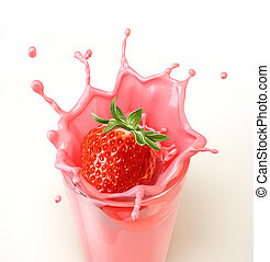Strawberry splashing into a glass full of milkshake....