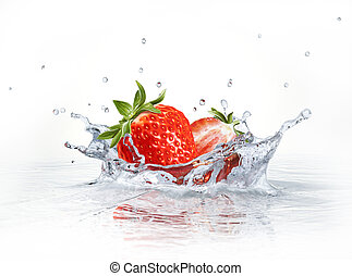 Strawberries falling into clear water, forming a crown splash.