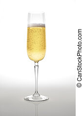 Champagne glass on white surface and background. With...