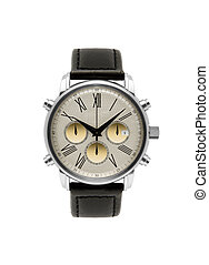 luxury silver man watch against white background