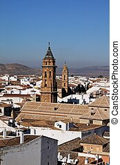 Town rooftops, Antequera. - San Sebastian (nearest) and San...