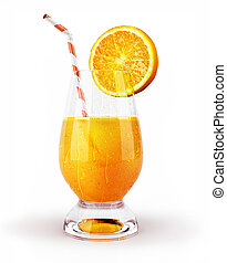 Orange juice in a glass with straw and slice. With...