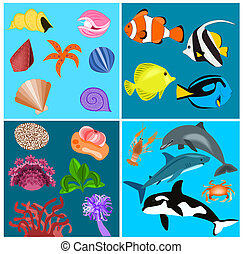 Sea set - Illustration of different kind of sea fishes and...