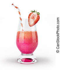 Strawberry drink glass, with half strawberry and a straw.