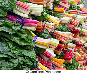 Colorful Swiss chard on display - A display of colorful...