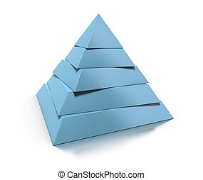 3d pyramid, five levels over white background with glossy...