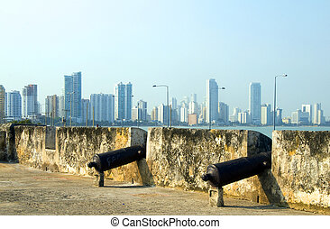 historic cannons fortress The Wall Cartagena Colombia South...