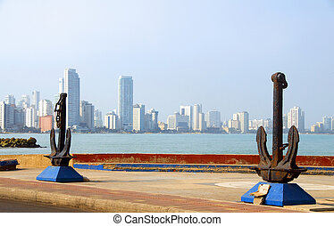 anchor sculpture harbor of Cartagena Colombia South America...