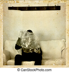 psychic medium with ectoplasm antique photo - Psychic medium...