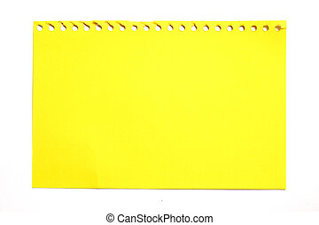 empty sheet of yellow paper from a notebook