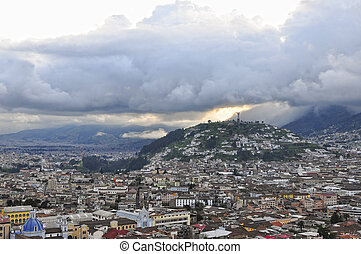 sunset on Quito - sunset on the historic center of Quito