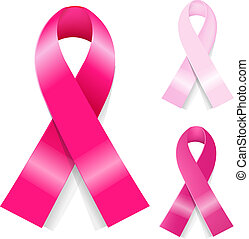 Breast ancer Ribbons Set, Isolated On White Background,...