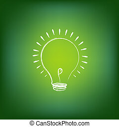 Green Energy Concept, On Green Background, Vector...