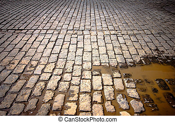 Old Street - Old cobblestone street in disrepair with muddy...