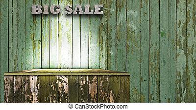 Empty wood shelf. grunge industrial interior. Design...