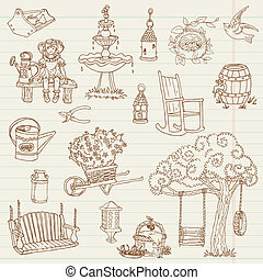Gardening Hand Drawn Doodles - for scrapbook, design in vector - set 2