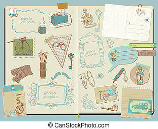 Scrapbook Design Elements - Gentlemen's Accessories doodle...