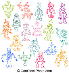 Robots Hand Drawn Doodle Set - for scrapbook or your design in vector