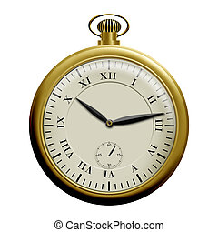 Pocket watch - Realistic illustration of an old pocket...