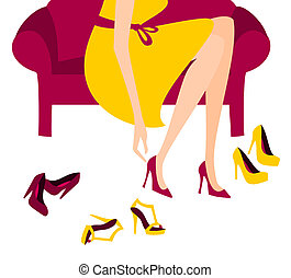 Shopping for Shoes - Illustration of a woman trying on...