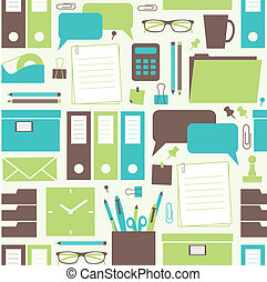 Office Objects Pattern - Seamless pattern with office...
