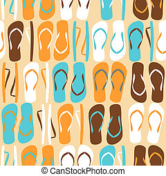 Flip-flops Background - Seamless pattern with flip-flops in...