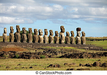 Ancient 15 moai on Easter Island