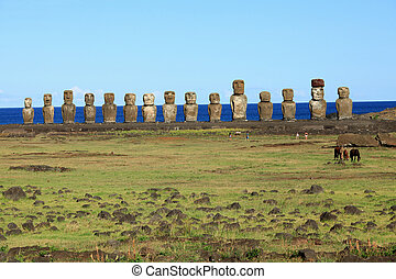Ancient 15 moai on Easter Island near the Quarry