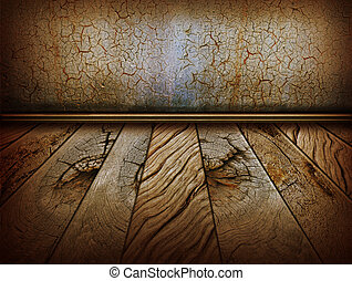 Vintage wall and old wood floor.Antique background