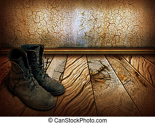 Old shoes on wood background