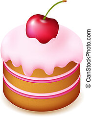 Birthday Cake With Cherry, Isolated On White Background,...