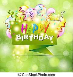 Happy Birthday Background With Origami And Bokeh, Vector...